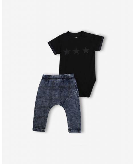 סט בגד גוף ומכנסיים עם הדפס סטאר