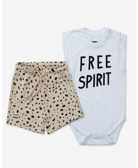 סט בגד גוף ללא שרוול ומכנסיים ספיריט