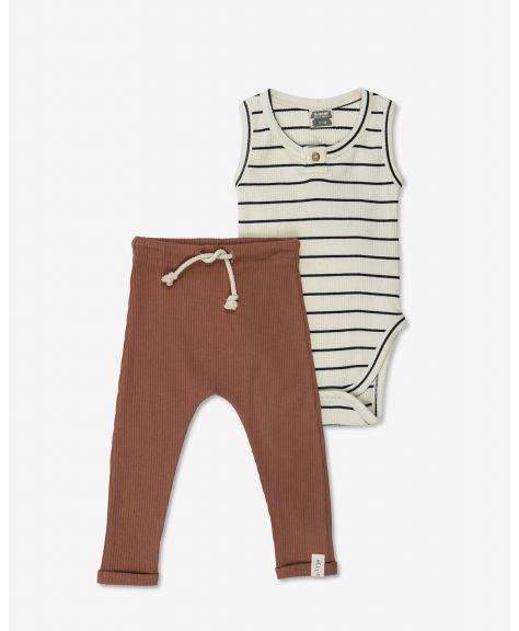 סט בגד גוף ומכנסיים ריב פייסי