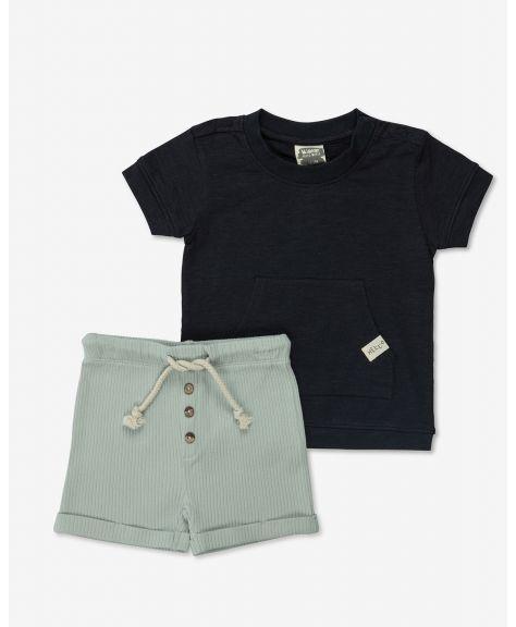 סט חולצה ומכנסיים ריב פייסי